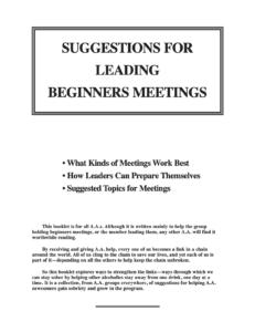 Suggestions for Leading Beginners Meetings link