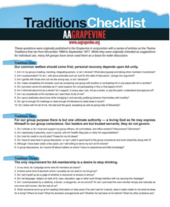 Traditions Checklist link